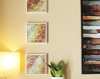 Abstract Painting, 3 Set of White Matted 7-5/8 x 7-5/8 Frames
