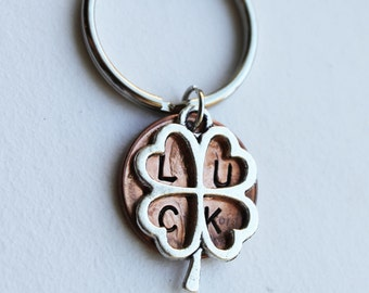 Good Luck Penny.  Lucky Penny.  Hand Stamped Penny.  Clover keychain, four leaf clover,best wishes, graduation, bon voyage, gradutation gift