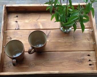 Rustic tray,pallet tray,wood tray,ottoman tray, serving tray,rustic serving tray,bed tray,breakfast  tray,wooden tray