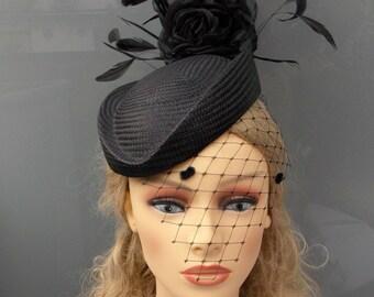 Black buntal pillbox, Feathers pillbox, Black headdress, Buntal headdress,Wedding hat, Veil pillbox, Veil hat