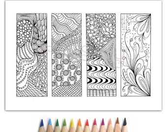 Bookmarks Zentangle Inspired, Zendoodle, Coloring Page,instant download PDF, Bookmarks 1