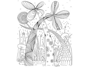 Vector Doodle Colouring Page, Zentangle Inspired Doodle, PDF File