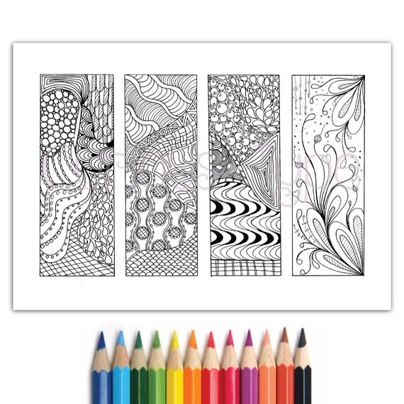 Bookmarks Zentangle Inspired Zendoodle Coloring Pageinstant