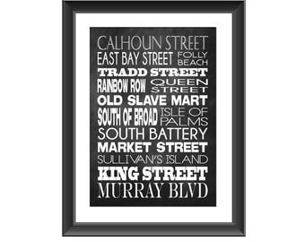 Charleston Art Print, Charleston Typography Poster, Charleston Places, Charleston Wall Decor, Charleston Art, Home Decor, Housewarming Gift
