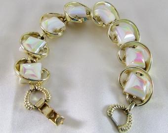 Opal Moonglow Thermoset Vintage Link Bracelet