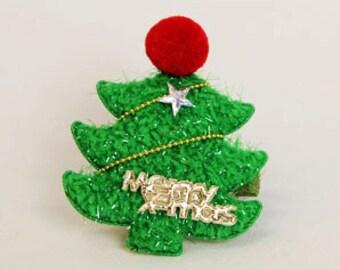 Christmas tree hair clip/ X-mas hair clip/ Christmas hair clip/ Christmas hair accessories/ Girls hair clips