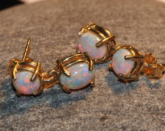 Natural Crystal Opal solids set in 14K yellow gold earrings