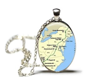 Appalachian Trail Map Pendant Map Necklace Map Jewelry Hiking Necklace