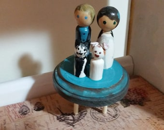 unique, custom wedding cake topper made to look like you & your better half
