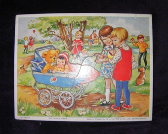 Vintage, Retro Puzzle by G.J Hayter & Co 'The Doll's Pram' Made in England, Wooden Puzzle