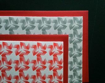 """Letterpress Stationary Notecard Set, 8 cards / envelopes, gift set, """"Windmills"""""""