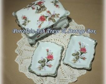 Mid Century Ash Tray Set, Porcelain Ashtray, Ashtray Box, Mid Century Modern, Collectible Tobacciana, Wild Rose China