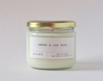 Amber & Oak Moss Scented Candle - Hand Poured, 100% Soy Wax - 12 oz.
