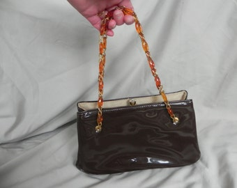 1960's Adorable Brown Patent Leather Handbag with Gold and Lucite Chain Handles by Garay