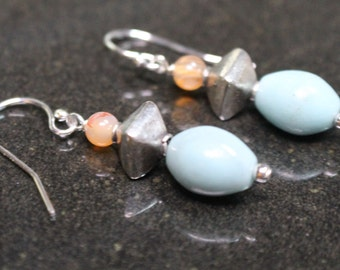 Amazonite, Carnelian and Sterling Silver Dangle Earrings