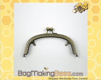 6 inch [15.24cm] Antique Brass Metal Clutch Purse Frame With Double Chain Loops And Sewing Holes [1 Piece]