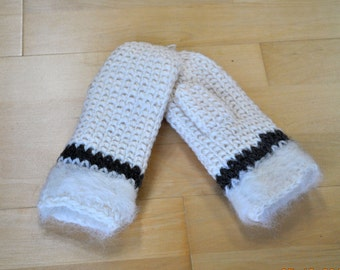 White Wool Mittens, Natural Wool Gloves, Undyed Wool, Winter Fashion,Warm Mittens, Gift for Her.