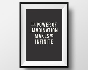 The power of imagination, creativity, typography poster, quote print, instant download, digital art, download, bedroom decor