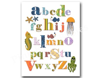 Nursery alphabet poster wall art for nursery abc print nautical nursery wall decor baby boy room  decor playroom decor kids room wall art