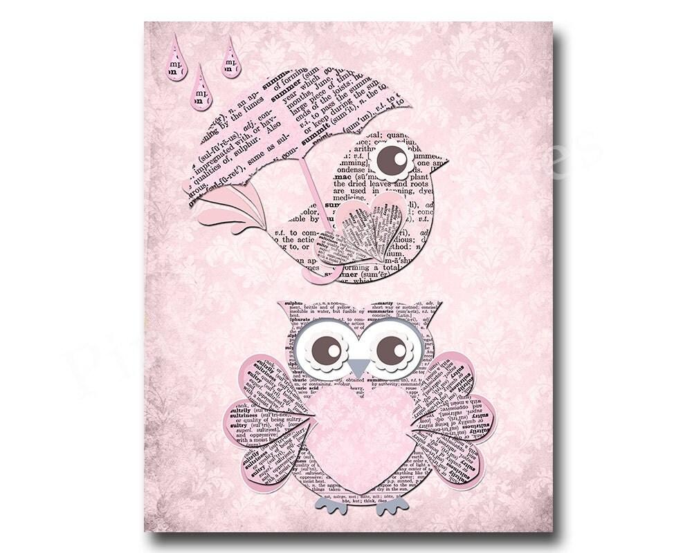 Owl Nursery Decor Pink Owl Decor Kids Room Decor Play Room