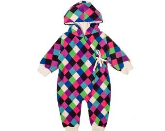 Baby overall, harlekin multicolor