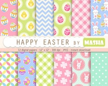 """Easter digital paper: """"HAPPY EASTER"""" with easter backgrounds, easter bunny, egg pattern, chicken, rabbits, gingham, chevron for scrapbooking"""