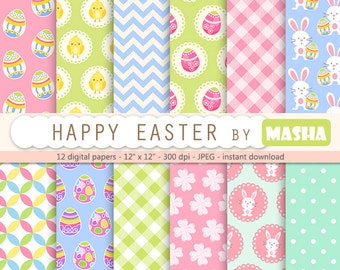 "Easter digital paper: ""HAPPY EASTER"" with easter backgrounds, easter bunny, egg pattern, chicken, rabbits, gingham, chevron for scrapbooking"