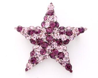 Star Brooch, Broach, Crystal, Star, Amethyst Purple, Twinkle, Star Broach, Stars. Brooches, DIY Project Jewelry Craft Embellishment