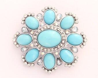Blue Brooch Crystal Aqua Blue Broach Light Blue Brooches Jewelry