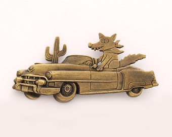 Fox Brooch Gold Coyote Fox Broach Pin Car Cadillac Fox Brooches Unique Vintage Jewelry