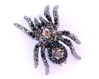 Spider Brooch Crystal Black Spider Broach Black Brooches Spiders Jewelry
