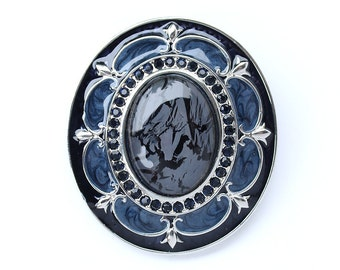 Dark Blue Brooch Crystal Navy Midnight Blue Oval Broach Something Blue Brooches Jewelry Component