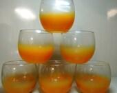 Vintage Blendo Orange Frosted Gold Rimmed Glasses Set of Five