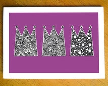 Doodle Three Kings Christmas card - blank inside, hand drawn, intricate illustration