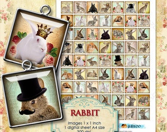 Digital sheet RABBIT 1x1 square top hat mustache crown altered for jewellery pendant clipart magnet instant download printable - qu191