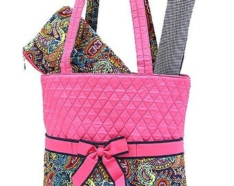 Personalized Pink and Paisley 3 pc Quilted Diaper Bag