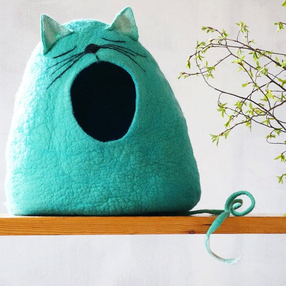 Cat bed cat cave cat house felted cat house by vaivaindre - Felted wool cat bed pattern ...