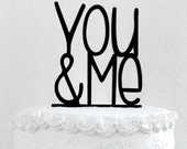 You & Me Cake Topper - Custom Wedding Cake Topper, Romantic Wedding Cake Decoration, Love Cake Topper, Traditional Wedding Cake Topper