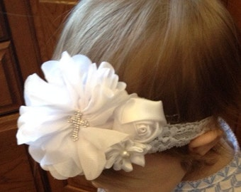 White baptism headband, white baby christening headband