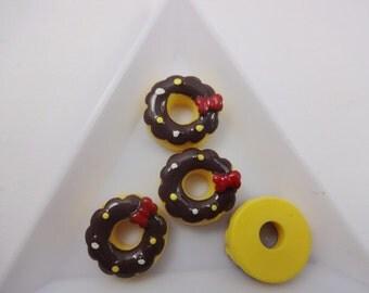 6pcs donuts cabochon for phone decoden, kawaii cabochon