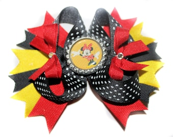 Red Black and Yellow Minnie Mouse Hair Bow