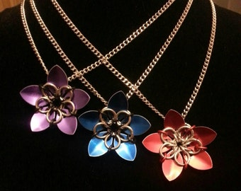 Handmade scale flower necklace