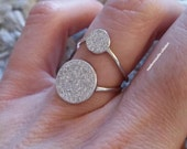 Ring Silver 925 / ring two crimped round zirkonias / rings two circles / Silver 925/000 - adjustable size / silver sterling 925