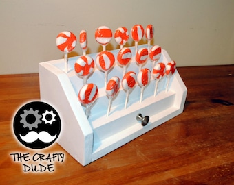 New design, hand made jewlery box style lollipop / cake pop white wood stand