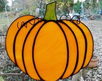 Pumpkin Stained Glass Sun Catcher Window Art