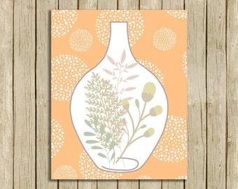 peach printable art instant download nursery wall art terrarium botanical print home decor for bedroom or living room