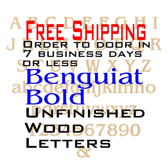 Unfinished Wood Letters Numbers, Free Ship, Benguiat Bold, &, Wood Craft, laser cut wood wood, wooden, wall, DIY, Wedding