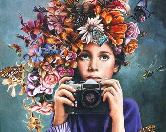 Greeting Cards, Birthday Cards, Child's Birthday Card, Blank Card, Camera, flowers, Girl with Flowers, Flowercrown