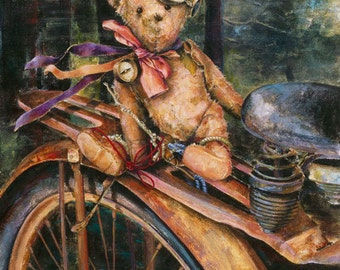 Teddy Bear Note Card, Travel Note Card, Bicycle,The Navigator