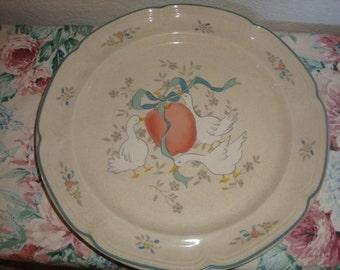 vintage international Marmalade 8868 flowers pears geese ribbon chop round serving platter plate